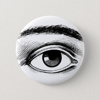 Fun Black and White Vintage Eye Illustration 2 Inch Round Button