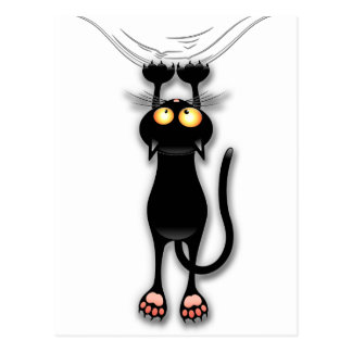 Fun Black Cat Falling Down Postcard