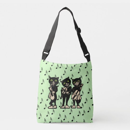 Fun black Cats Playing Fiddle Saxophone Guitar Crossbody Bag