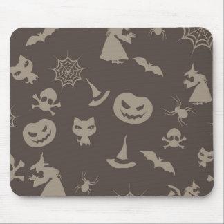 Fun Black Grey Halloween Design Mousepad
