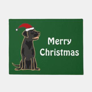 Fun Black Labrador Dog Christmas Doormat