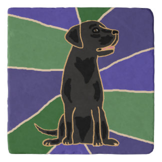 Fun Black Labrador Retriever Art Stone Trivet