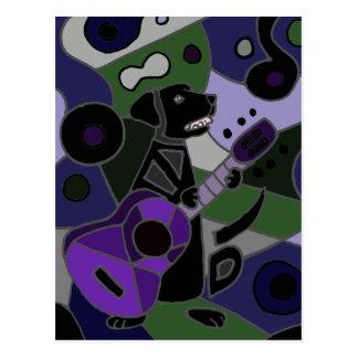 Fun Black Labrador Retriever with Guitar Art Postcard