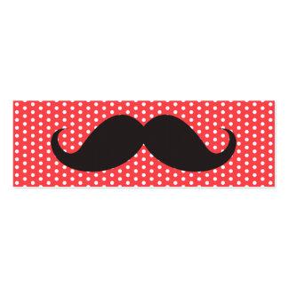 Fun black moustache on pale red polka dot pattern business card