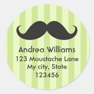 Fun black mustache green stripes address label