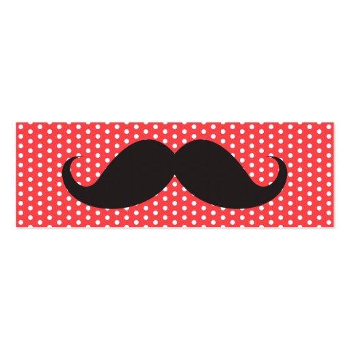 Fun black mustache on pale red polka dot pattern business card