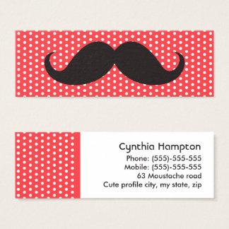 Fun black mustache on pale red polka dot pattern mini business card