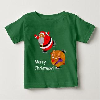 Fun Black Santa Claus & Rudolph ice skating, Baby T-Shirt