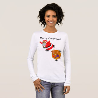 Fun Black Santa Claus & Rudolph ice skating, Long Sleeve T-Shirt
