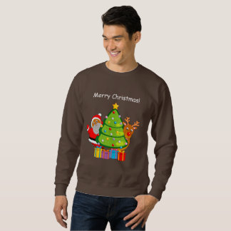 Fun Black Santa Claus & Rudolph ice skating, Sweatshirt