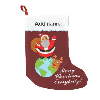 Fun black Santa Claus standing on the Earth, Small Christmas Stocking