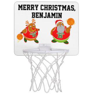 Fun black Santa & Rudolph playing basketball, Mini Basketball Hoop
