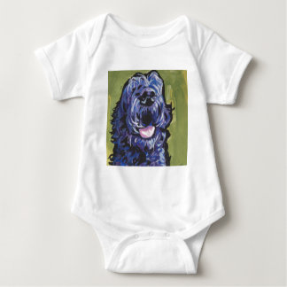 fun black schnoodle labradoodle fun pop art baby bodysuit