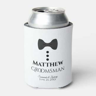 Fun Black Tie Groomsman Wedding Foam Can Cooler