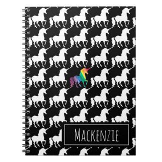 Fun Black & White Unicorn Rainbow Personalized Notebook