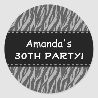 Fun Black White Zebra Custom 30th Birthday Classic Round Sticker