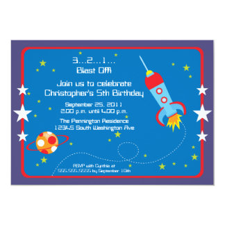 Fun blast off spaceship boys birthday party invite