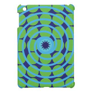Fun Blue and Green Swirl Spiral Polka Dots Pattern iPad Mini Cases