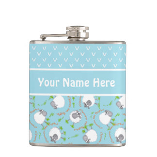 Fun Blue and White Custom Hip Flask, Comic Sheep Hip Flask