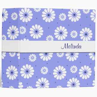 Fun Blue and White Daisies Binder