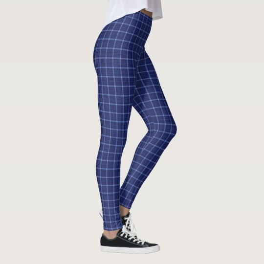 Fun Blue and White Plaid Women's Leggings