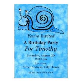 Fun Blue Cartoon Birthday Smiling Snail Aqua Blue Card