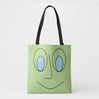 Fun Blue Eyed Smiley Face Design Tote Bag