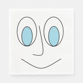 Fun Blue Eyed Smiling Stick Man's Face Design Paper Napkin
