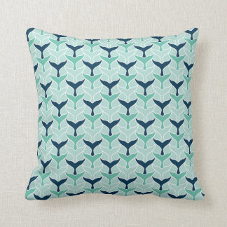 Fun blue green white mermaid tail graphic pattern throw pillow