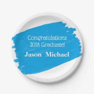 Fun Blue Oil Painting Personalized Graduation Paper Plate