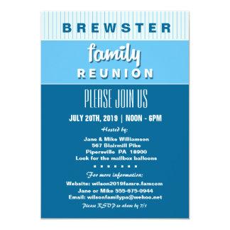 Fun Blue Pin Stripe Family Reunion Invitation
