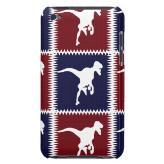Fun Blue Red T Rex Dinosaur Square Pattern iPod Touch Cover