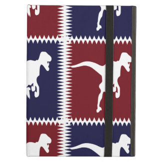 Fun Blue Red T Rex Dinosaur Square Pattern iPad Air Cover