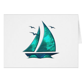 Fun Blue Sailboat Card