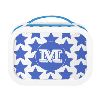 Fun Blue Stars Pattern Monogram Lunch Box