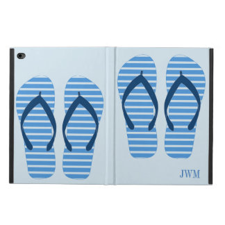 Fun Blue Stripe Flip Flops Summer Beach Monogram Powis iPad Air 2 Case