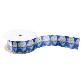 Fun Blue Velvet Cupcake Ribbon Satin Ribbon