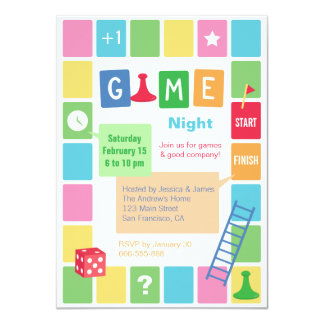 Fun Board Game Night Party Invitations