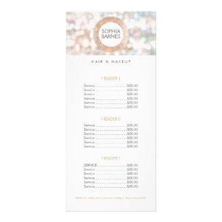 Fun Bokeh and Rose Gold Salon Price List Menu 2 Full Color Rack Card
