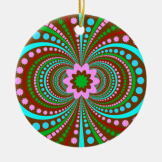 Fun Bold Pattern Brown Pink Teal Crazy Design Ceramic Ornament