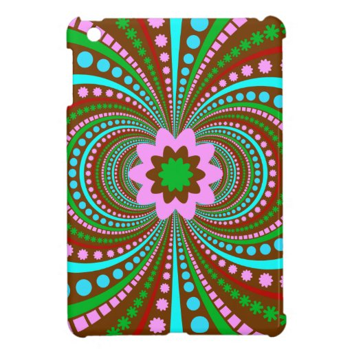 Fun Bold Pattern Brown Pink Teal Crazy Design iPad Mini Cover