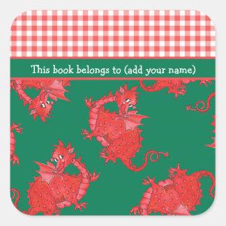 Fun Bookplates to Personalize: Cute Red Dragon Square Sticker