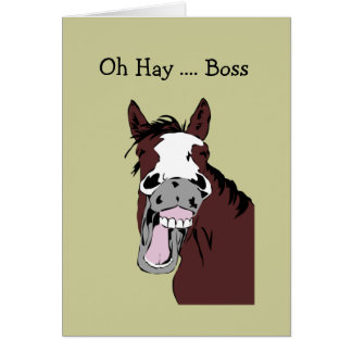 Fun Boss Birthday Great Day to Horse Around Greeting Card