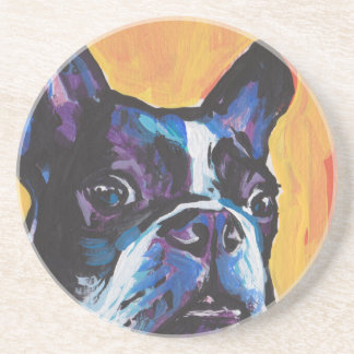 Fun Boston Terrier bright colorful Pop Art Coaster