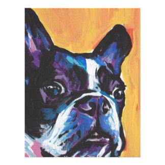 Fun Boston Terrier bright colorful Pop Art Letterhead Design