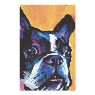 Fun Boston Terrier bright colorful Pop Art Stationery