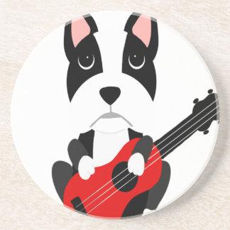 Fun Boston Terrier Dog Playing Guitar Coaster