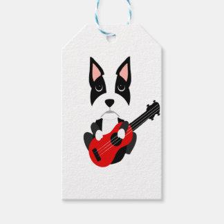 Fun Boston Terrier Dog Playing Guitar Gift Tags