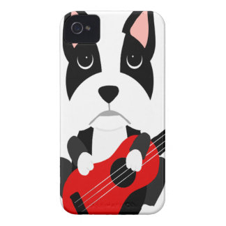 Fun Boston Terrier Dog Playing Guitar iPhone 4 Cover