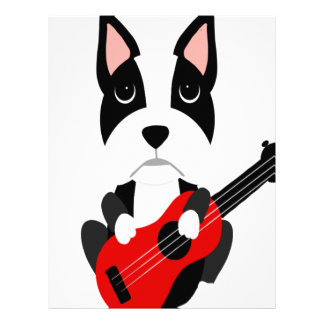 Fun Boston Terrier Dog Playing Guitar Letterhead